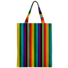 Multi Colored Colorful Bright Stripes Wallpaper Pattern Background Zipper Classic Tote Bag
