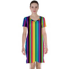 Multi Colored Colorful Bright Stripes Wallpaper Pattern Background Short Sleeve Nightdress