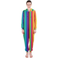 Multi Colored Colorful Bright Stripes Wallpaper Pattern Background Hooded Jumpsuit (ladies)