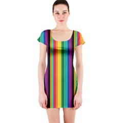 Multi Colored Colorful Bright Stripes Wallpaper Pattern Background Short Sleeve Bodycon Dress
