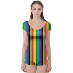 Multi Colored Colorful Bright Stripes Wallpaper Pattern Background Boyleg Leotard