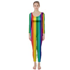 Multi Colored Colorful Bright Stripes Wallpaper Pattern Background Long Sleeve Catsuit