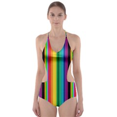 Multi Colored Colorful Bright Stripes Wallpaper Pattern Background Cut-Out One Piece Swimsuit