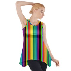 Multi Colored Colorful Bright Stripes Wallpaper Pattern Background Side Drop Tank Tunic