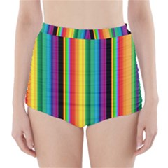 Multi Colored Colorful Bright Stripes Wallpaper Pattern Background High Waisted Bikini Bottoms