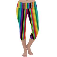 Multi Colored Colorful Bright Stripes Wallpaper Pattern Background Capri Yoga Leggings