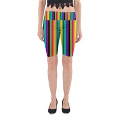 Multi Colored Colorful Bright Stripes Wallpaper Pattern Background Yoga Cropped Leggings