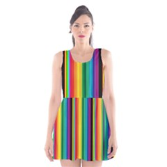 Multi Colored Colorful Bright Stripes Wallpaper Pattern Background Scoop Neck Skater Dress