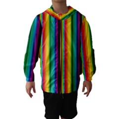 Multi Colored Colorful Bright Stripes Wallpaper Pattern Background Hooded Wind Breaker (Kids)