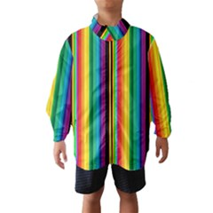 Multi Colored Colorful Bright Stripes Wallpaper Pattern Background Wind Breaker (Kids)