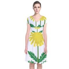 Sunflower Floral Flower Yellow Green Short Sleeve Front Wrap Dress