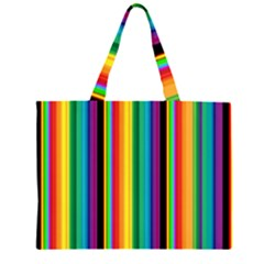 Multi Colored Colorful Bright Stripes Wallpaper Pattern Background Large Tote Bag
