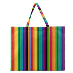 Multi Colored Colorful Bright Stripes Wallpaper Pattern Background Zipper Large Tote Bag
