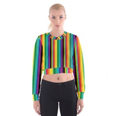 Multi Colored Colorful Bright Stripes Wallpaper Pattern Background Women s Cropped Sweatshirt