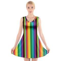 Multi Colored Colorful Bright Stripes Wallpaper Pattern Background V Neck Sleeveless Skater Dress