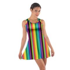 Multi Colored Colorful Bright Stripes Wallpaper Pattern Background Cotton Racerback Dress
