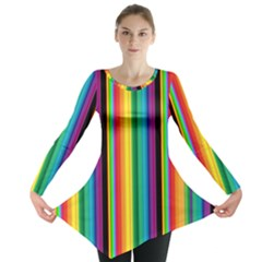 Multi Colored Colorful Bright Stripes Wallpaper Pattern Background Long Sleeve Tunic
