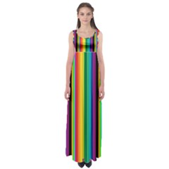Multi Colored Colorful Bright Stripes Wallpaper Pattern Background Empire Waist Maxi Dress