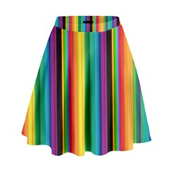 Multi Colored Colorful Bright Stripes Wallpaper Pattern Background High Waist Skirt