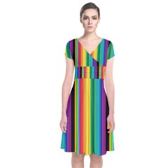 Multi Colored Colorful Bright Stripes Wallpaper Pattern Background Short Sleeve Front Wrap Dress