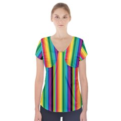 Multi Colored Colorful Bright Stripes Wallpaper Pattern Background Short Sleeve Front Detail Top