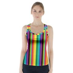 Multi Colored Colorful Bright Stripes Wallpaper Pattern Background Racer Back Sports Top