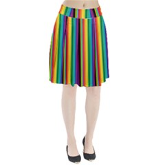 Multi Colored Colorful Bright Stripes Wallpaper Pattern Background Pleated Skirt