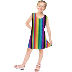 Multi Colored Colorful Bright Stripes Wallpaper Pattern Background Kids  Tunic Dress