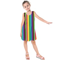 Multi Colored Colorful Bright Stripes Wallpaper Pattern Background Kids  Sleeveless Dress