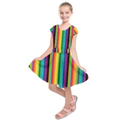 Multi Colored Colorful Bright Stripes Wallpaper Pattern Background Kids  Short Sleeve Dress