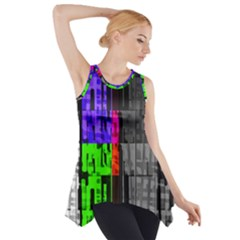 Repeated Tapestry Pattern Side Drop Tank Tunic