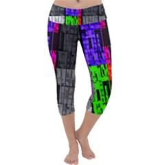 Repeated Tapestry Pattern Capri Yoga Leggings