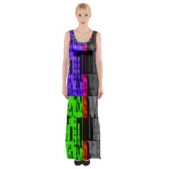 Repeated Tapestry Pattern Maxi Thigh Split Dress