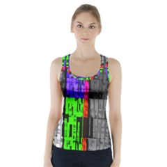 Repeated Tapestry Pattern Racer Back Sports Top