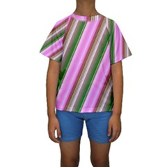 Pink And Green Abstract Pattern Background Kids  Short Sleeve Swimwear