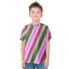 Pink And Green Abstract Pattern Background Kids  Cotton Tee