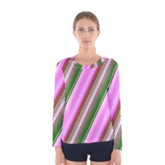 Pink And Green Abstract Pattern Background Women s Long Sleeve Tee