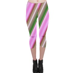 Pink And Green Abstract Pattern Background Capri Leggings