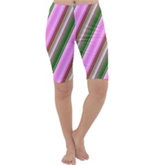 Pink And Green Abstract Pattern Background Cropped Leggings