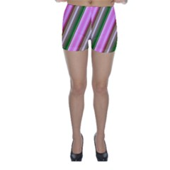 Pink And Green Abstract Pattern Background Skinny Shorts
