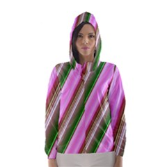 Pink And Green Abstract Pattern Background Hooded Wind Breaker (Women)