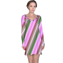 Pink And Green Abstract Pattern Background Long Sleeve Nightdress