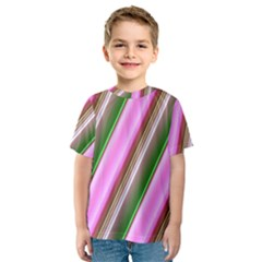 Pink And Green Abstract Pattern Background Kids  Sport Mesh Tee