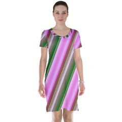 Pink And Green Abstract Pattern Background Short Sleeve Nightdress