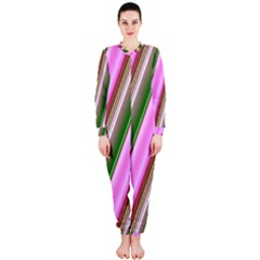 Pink And Green Abstract Pattern Background Onepiece Jumpsuit (ladies)