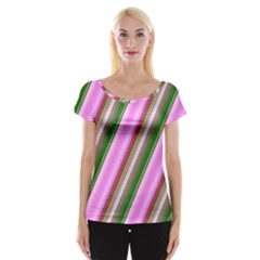 Pink And Green Abstract Pattern Background Women s Cap Sleeve Top