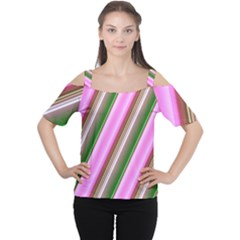 Pink And Green Abstract Pattern Background Women s Cutout Shoulder Tee