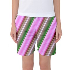 Pink And Green Abstract Pattern Background Women s Basketball Shorts