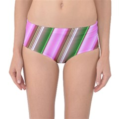 Pink And Green Abstract Pattern Background Mid Waist Bikini Bottoms