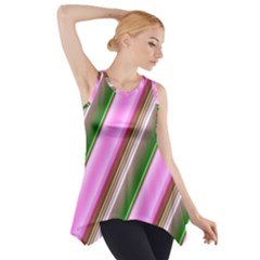 Pink And Green Abstract Pattern Background Side Drop Tank Tunic